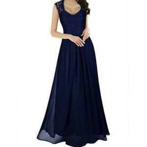 Miusol Navy Lace Chiffon Sleeveless Dress Gown